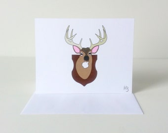 Deer Trophy Note Card - Greeting Card for Dads - Card for Hunters and Hunting Enthusiasts - Mounted 10-Point Buck Card
