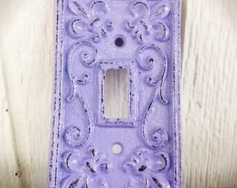BOLD lilac purple ornate decorative switch plate // cast iron// FLEUR de LIS