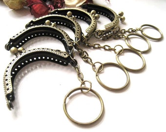 5 cm Antique Brass Embossed Pattern Half Round Sewing Mini Purse Frame with Ball Clasp Clip and Key Ring - Pack of 5pc