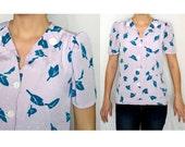 Womens Vintage Leaf Print peplum blouse - small-medium