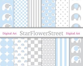 Elephant Digital Paper Scrapbook Background - baby blue grey gray baby boy patterns scrapbooking 12x12