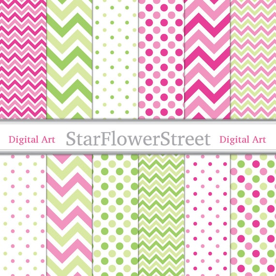 Pink Chevron Polka Dot with Green Digital by ...