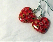 Cute Little Red Millefiori Heart Earrings