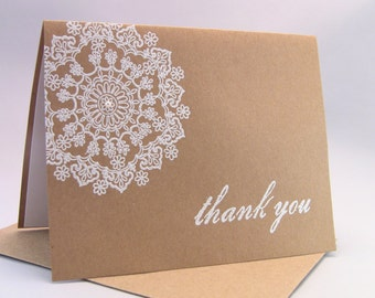 20 Wedding Thank You Cards, Shower Thank Yous, General Thank Yous, Christmas Thank Yous, White on Kraft, Elegant Pearl