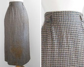 70s long pencil skirt / Dogstooth / Maxi Skirt / Brownish / Vintage Clothing/ Size S