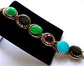 Chunky Big Links Vintage  Bracelet . Green, Turquoise and Lapis Blue, Black Cabochons. Juliana style construction. 1960s