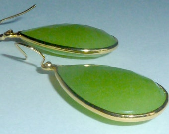 Stunning large green teardrop chalcedony earrings. As seen on Real Housewives of Beverly Hills. Made to order.