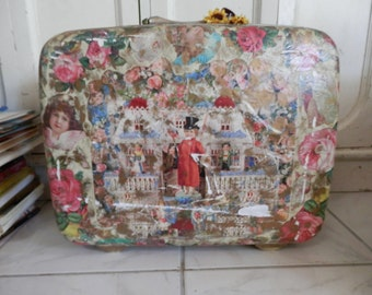 Vintage Old Decoupage Samsonite Hard Suitcase Luggage case,Children,Roses,Romantic,Lace,Flowers,So Charming