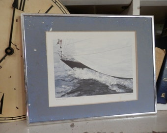 Beautiful Pencil numbered and Signed 222 / 500 1985 Whittaker Boat,Sea,Ocean,Sail,