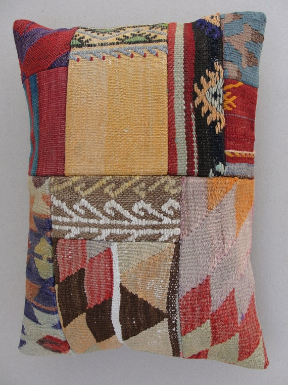 "Modern Bohemian Home Decor,Turkish Patchwork Kilim  Pillow Cover 20"" X 14.5"" ,Kilim Ebroidery Pillow,Vintage Patchwork Kilim Pillow"