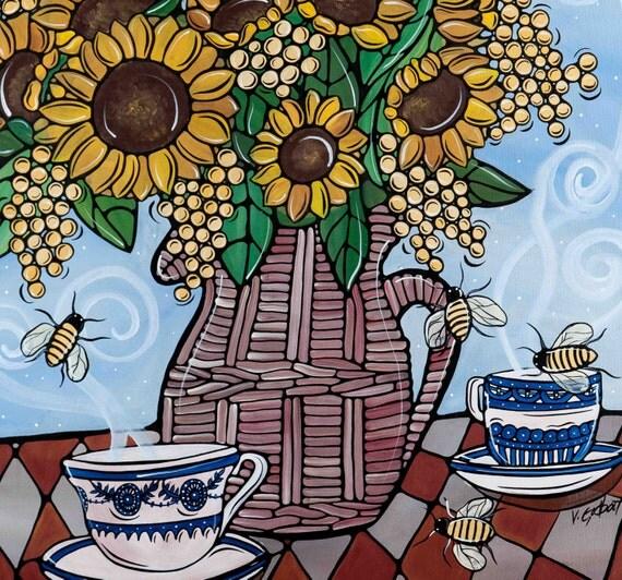 Sunflower Kitchen Decor - Flowers Art Print - Original Artwork - Kitchen and Bedroom Art - Yellow Floral Arrangement
