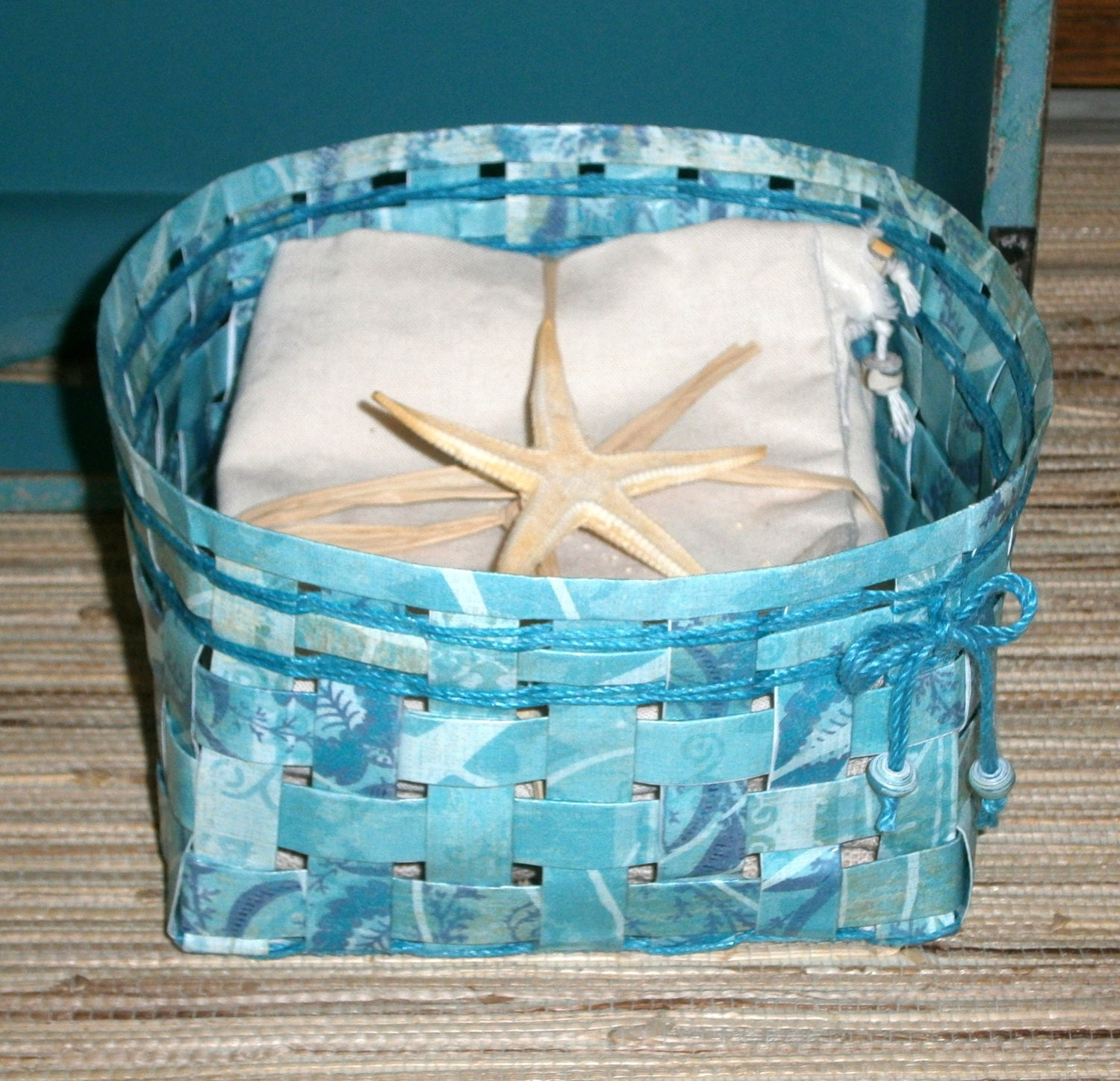 Woven Recycled Paper Basket Shades Of Teal By