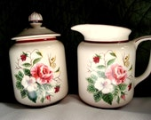 Vintage Shabby Cream and Sugar Knowles Sugar and Creamer Pink Rose White Hibiscus Shabby Chic