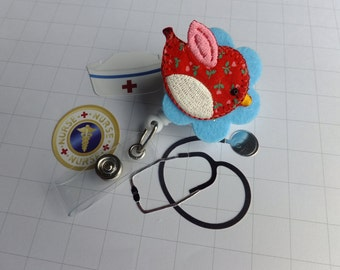 Retractable Badge Reel ID Cute Red Bird Swivel Clip ID Badge Holder Name Badge Holder Nurse gift