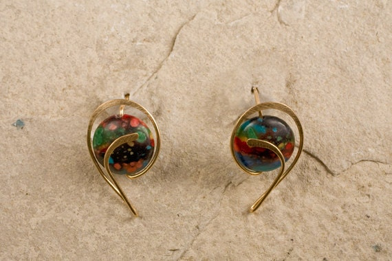 Rainbowstone Designer Stud Earrings, Gold Filled, Sterling Silver, Allergy safe Niobium, Your CHOICE of METALS & STONE Beads