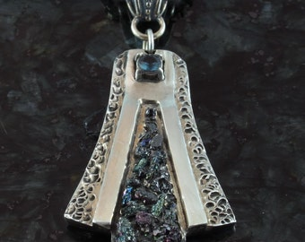 Eiffel Tower, sapphire, mineral crystals and fine silver pendant