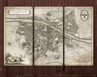 "Vintage Map of Florence on METAL Sepia 54x36"" FREE SHIPPING"