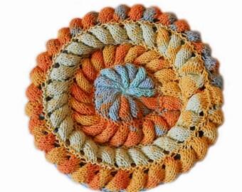 Knitted beret, knitted hat, spring beret, spring tam, braid beret, summer hat, cotton beret, sun hat, blue beret, orange beret, knit beanie