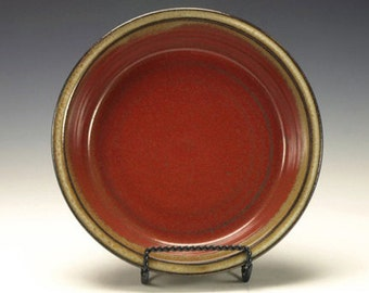 Pottery Pie Plate.  Stoneware pottery.  Iron Red with cream.  Ready to ship.