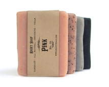 Soap set - women gift set. Vegan soap, Unscented soap, detox soap, Pink clay soap, Charcoal soap,