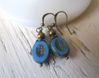 Blue Beauties: Ceruleun Blue Picasso Czech Glass Dangles