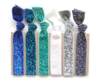 Cool Tone Glitter Pack: 6 Elastic Handmade Glitter Hair Ties, Rainbow, Sparkle
