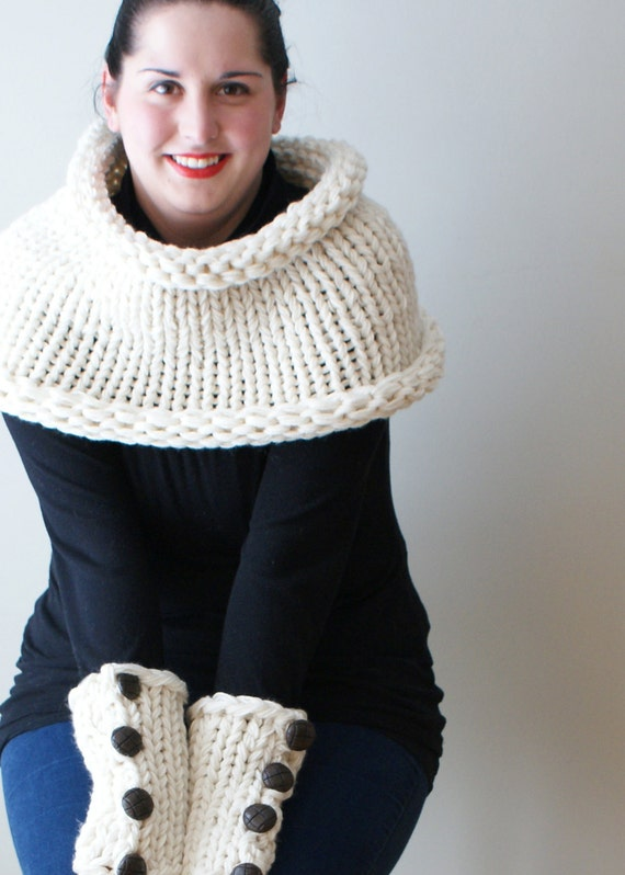 DIY Knitting PATTERN - Simple Chunky Knit Shawl Cowl and Arm-warmers (one-siz...