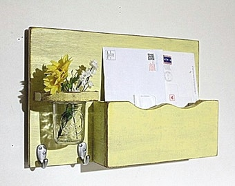 Mail organizer, floral vase, sconce, key hooks, vintage, wood, distressed, shabby chic, home decor,painted Earthly Yellow