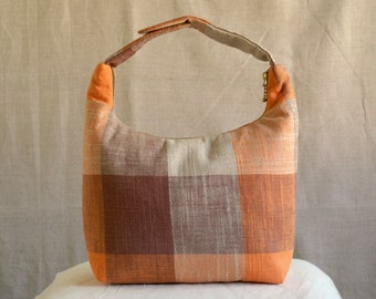 Lunch Bag Insulated, Women Lunch Bag, Work Lunch Tote, Handmade Lunch Bag, Fabric Lunch Bag,Orange Brown Beige Checker