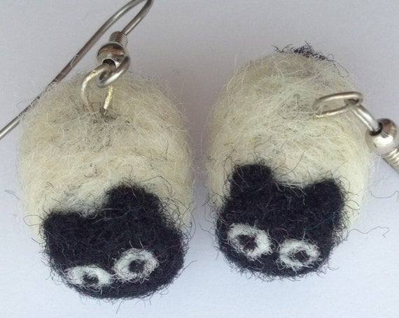 Needle felted organic wool roving sheep earrings