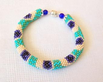Beadwork - Beaded Crochet Bracelet - Colorful Peacock - Bead Crochet Bracelet - Seed beads jewelry