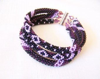 Beadwork - 3 Strand Bead Crochet Rope Bracelet in black, purple and lilac  - beaded jewelry - seed beads bracelet