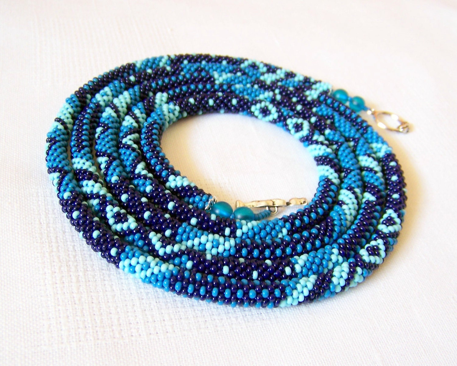 Long Beaded Crochet Rope Necklace Beadwork Seed beads by lutita