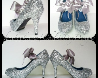 Silver Glitter Pump Low Heels with Bows