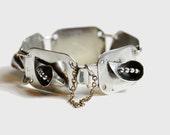 Vintage Black, Starr & Gorham designer sterling silver calla lily link bracelet, exquisitely detailed