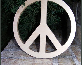 12 INCH - Wood Peace Sign Wall Art