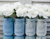 Painted & Distressed Mason Jar - Ombre Blue