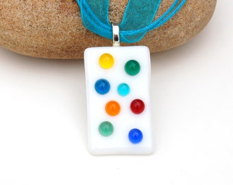 Fused Glass Bubble Polka Dot Pendant