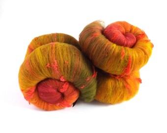 Spinning batts - 100g - 3.5oz - merino wool  - silk noil - Tussah silk - THE SPINDLE BERRY