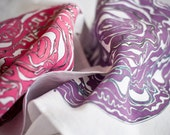 Set of 2 white linen kitchen towels/ dish cloths/ tea towels, pink and purple cabbage illustration.