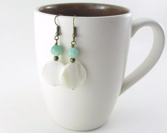 Aqua Amazonite and White Shell Beaded Antiqued Brass Earrings