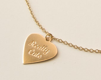 Really Cute in golden heart necklace, Dainty necklace, Delicate heart pendant,