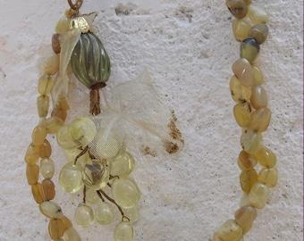 SALE Old Vintage Serpentine and Grape Cluster  Necklace