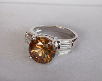 Strontium Titanate & Baguette Cz Ring Big Round Solitaire Ring Engagement Wedding Rhodium Plated Sterling Silver Size 5