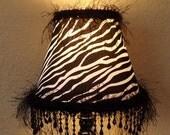 SALE Lamp Black Fringe Beaded Table Lamp Zebra Lamp Shade Accent Lamp For Her Teen Girls Room Decor Upcycled Lighting