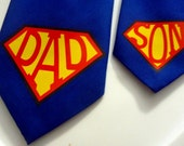 SUPER DAD and SON Adjustable Neck Tie for Father, Boy, Toddler, and Baby (Super Man Symbol) Fathers Day