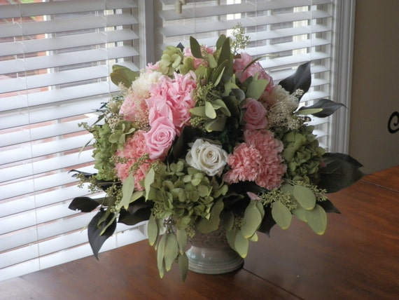 Preserved Floral Arrangement Pink Mint Green Ready To Ship