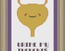 Urine my thoughts: nerdy bladder cross-stitch pattern