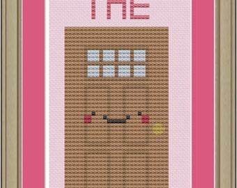Shut the front door: funny cross-stitch pattern