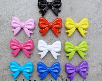 Bow Knot  Beads  Large - 36mm x 46mm -  Chunky Necklaces - SET OF 6- Your choice of color